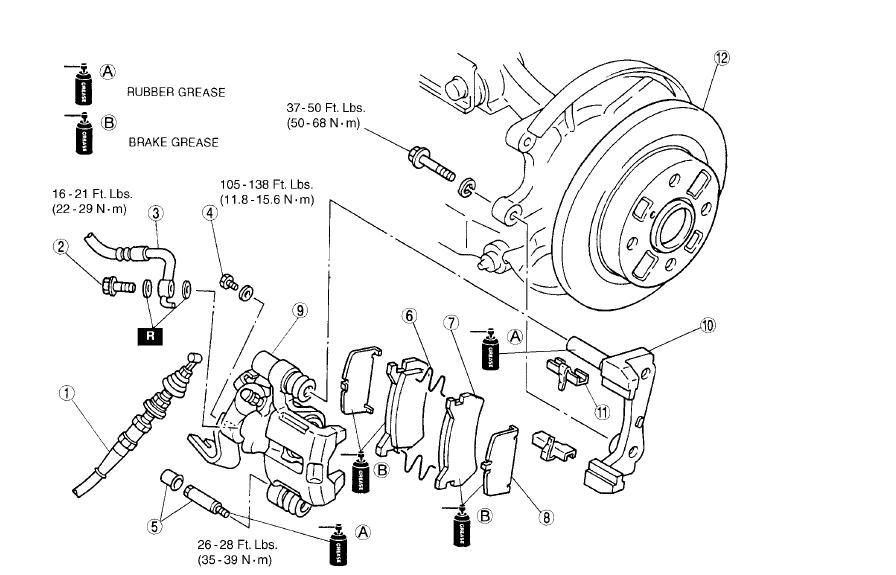 Mazda caliper diagram auto parts catalog and